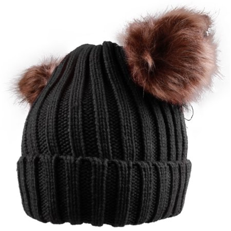 0ea98c5af Enimay Women's Winter Cable Knitted Faux Fur Double Pom Pom Beanie Hat 0256  Black