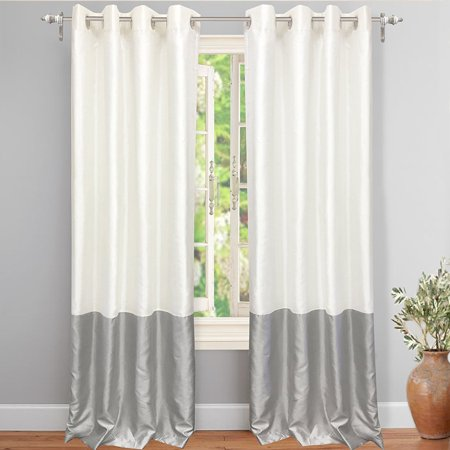 "Final Sale DriftAway Madelynn Solid Color Block-Thermal Blackout/Room Darkening Grommet Curtains, Faux Silk Window Panels with Triple Weave Blackout Fabric Lining, 2 Panels 52""x84"" (Ivory/Silver)"