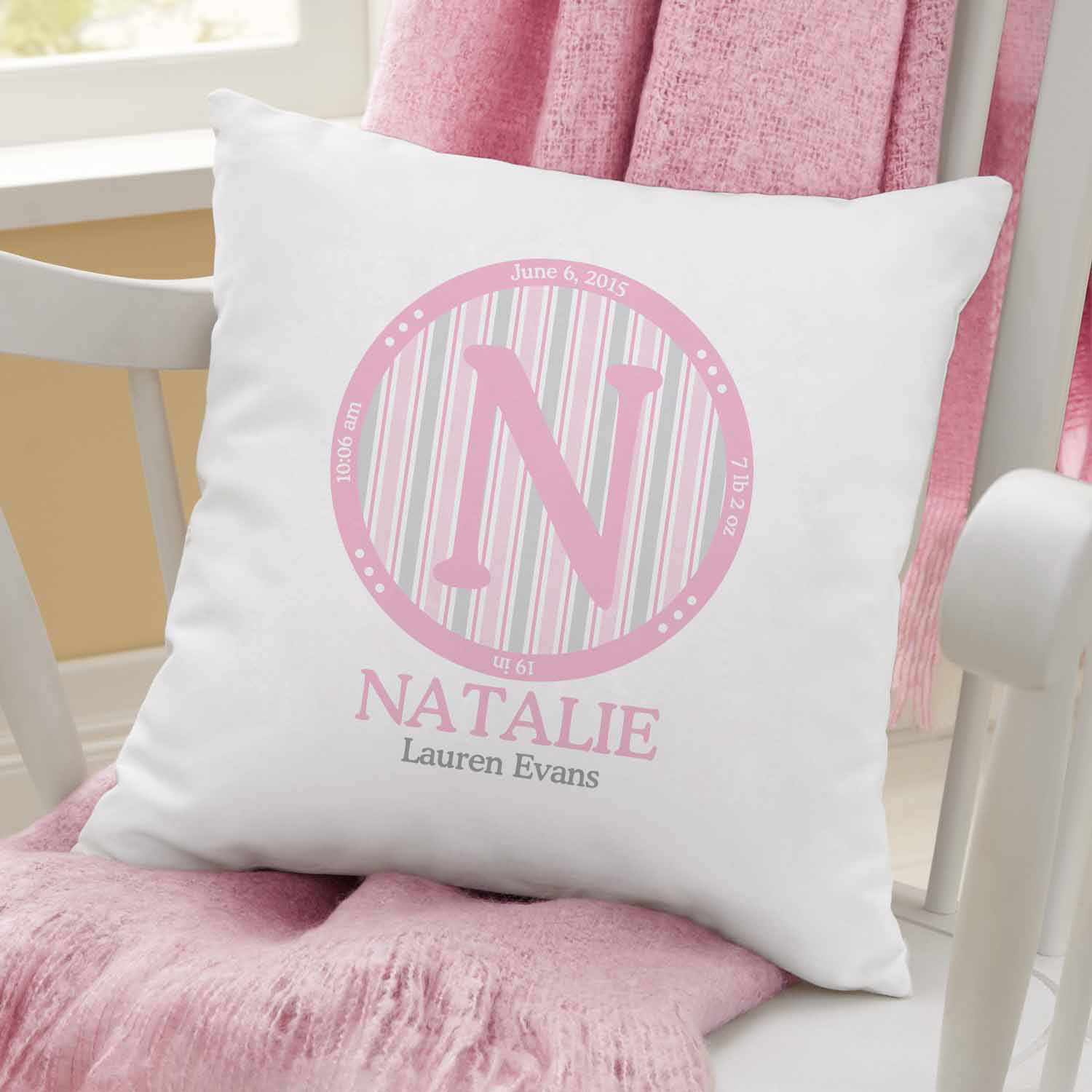 Personalized Baby Monogram Pillow-Available in Pink or Blue