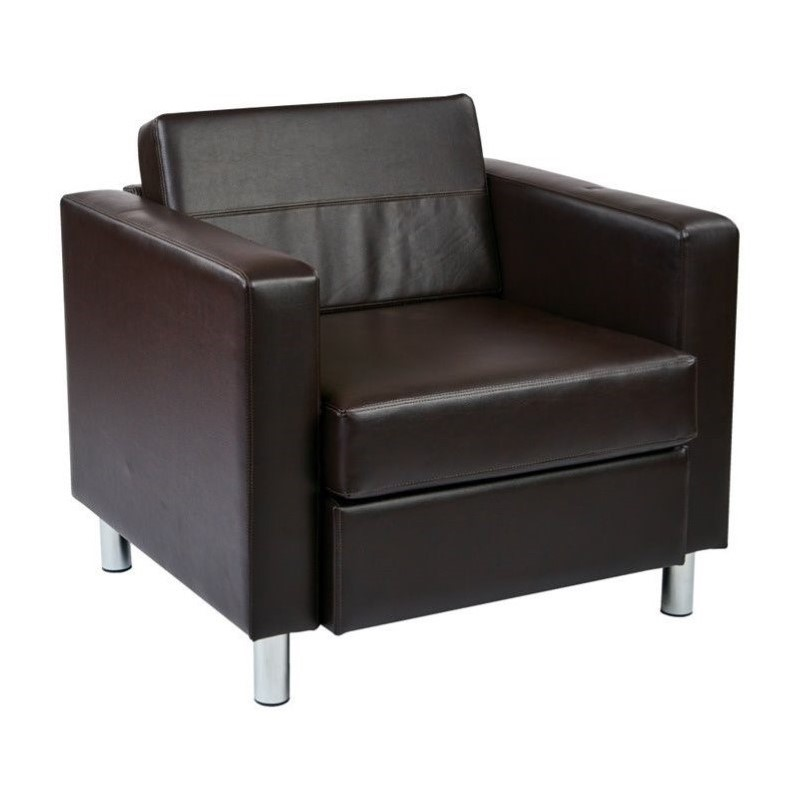 Attirant Pacific Easy Care Faux Leather Armchair With Box Spring Seat U0026 Silver Color  Legs