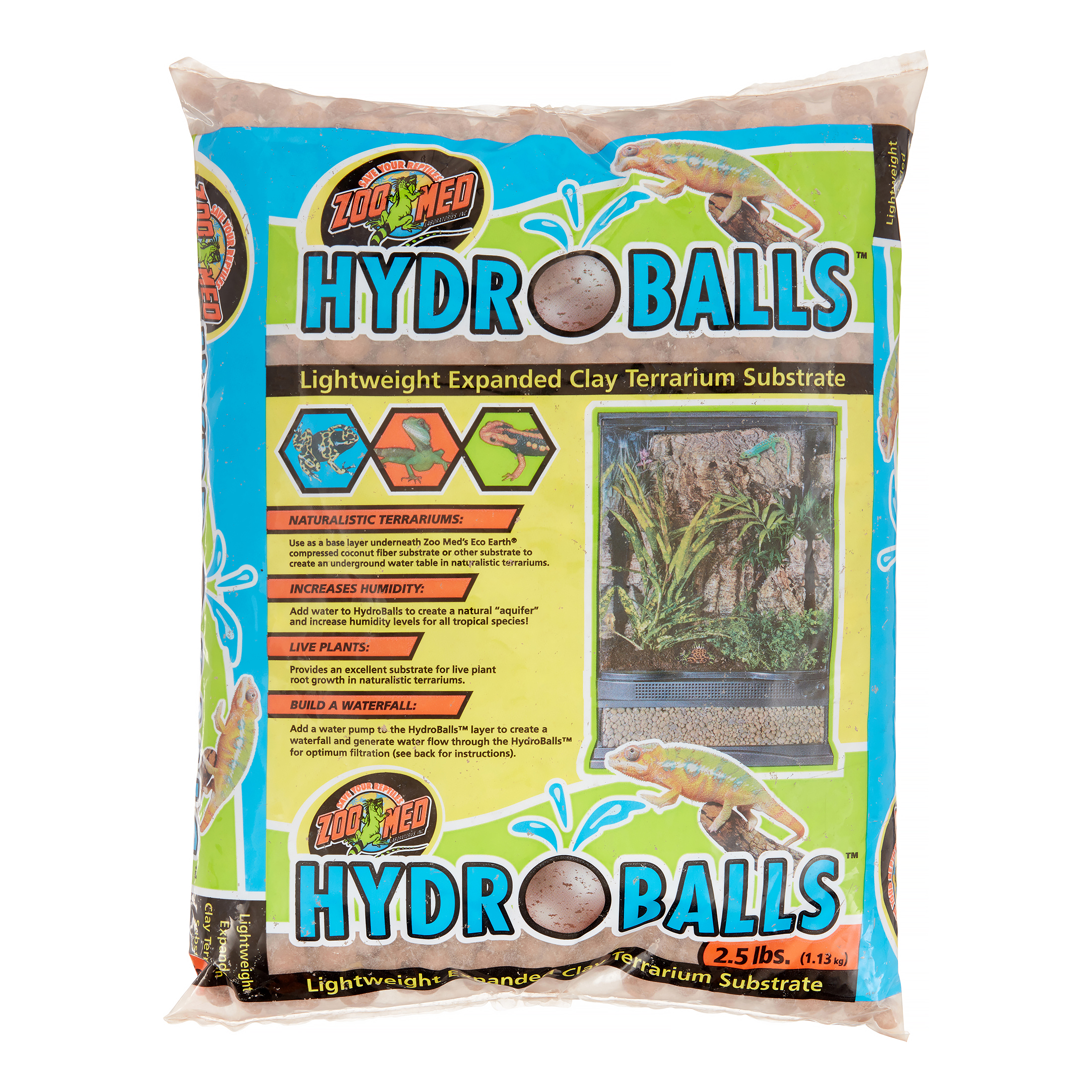 Zoo Med HydroBalls Expanded Clay Terrarium Substrate, 2.5 Lb