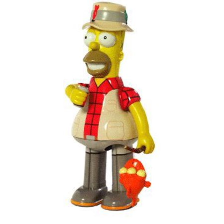 FISHING HOMER SIMPSON w/ Duff Beer, Fishing Pole & Blinky the Fish Official Tin Action Toy * 8 Inch Tin Toy Wind Up * from Rocket USA by The Simpsons - Simpsons Halloween Burger King Toys