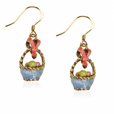 Easter Basket Charm Earrings in Gold - Easter Jewelry