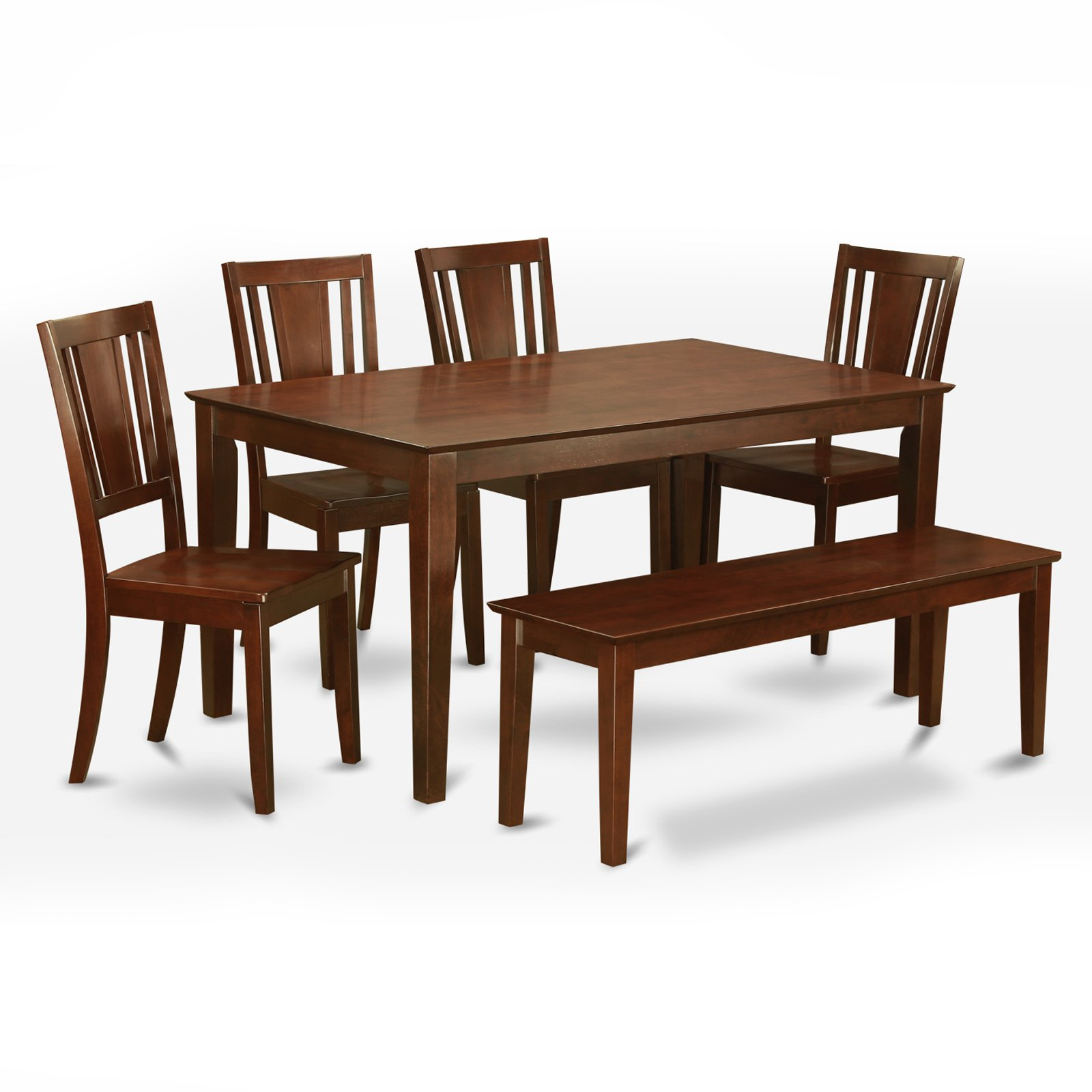 East West Furniture Capris 6 Piece Rectangular Dining Table Set with Buckland Wooden Chairs And Bench