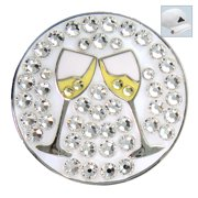 Bella Crystal Golf Ball Marker & Hat Clip - Cheers White