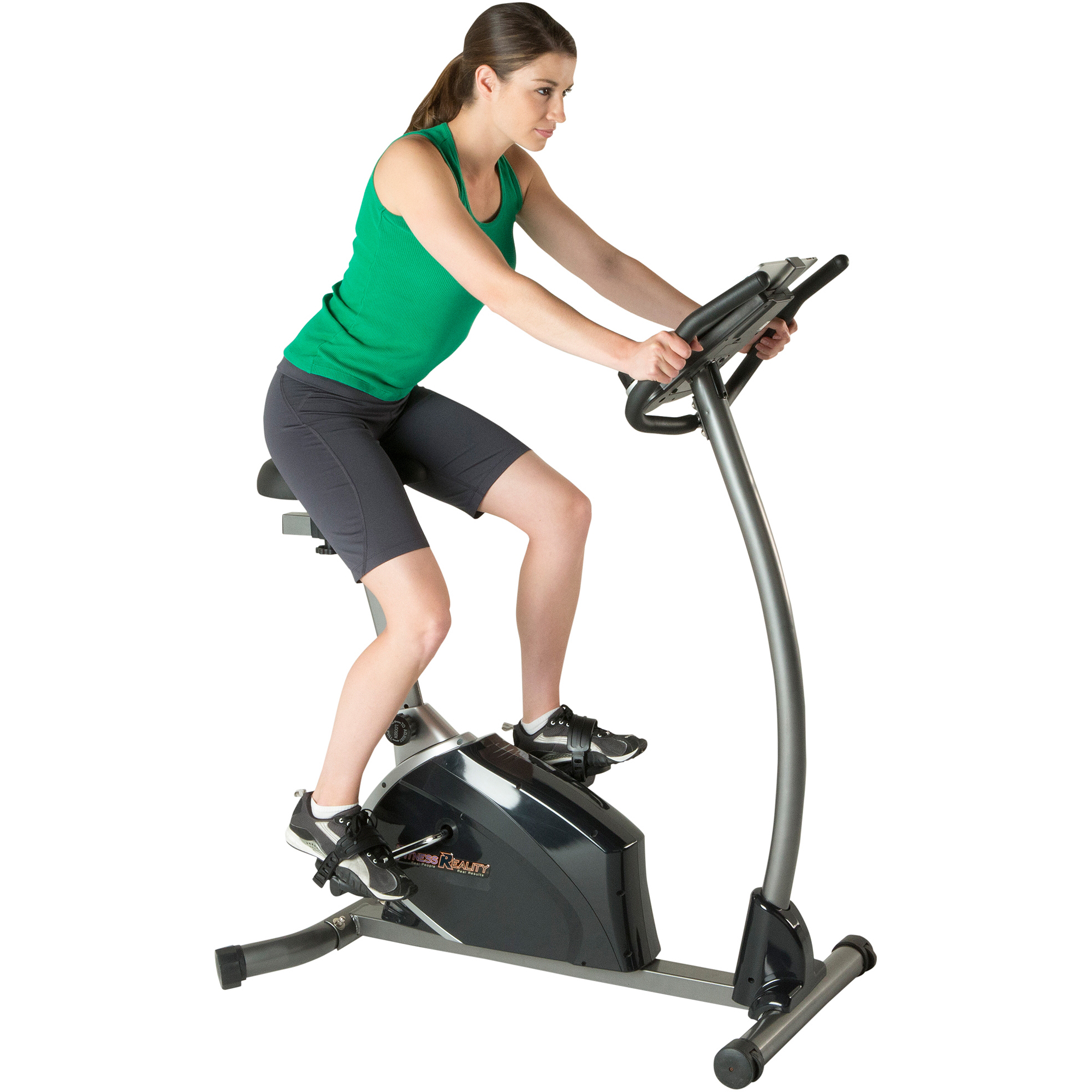 Fitness Reality U3500 Magnetic Resistance Upright Exercise Bike with Extended Seat Design, Book, iPad Holder with Heart Rate Control