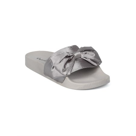New Women Satin Open Toe Bow Tie Footbed Slide - 17853 By Qupid Collection Bow Tie Open Toe