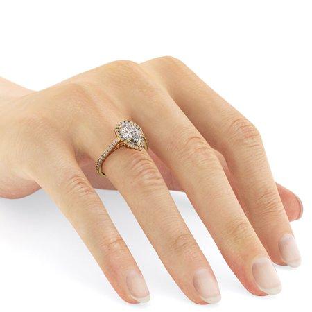 18K White Gold Ring Natural Certified Diamond 1.49 Carat Weight Pear G