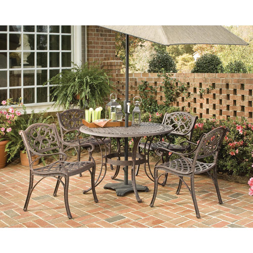Home Styles Biscayne 5 Piece Metal Patio Dining Room Set in Bronze by Home Styles