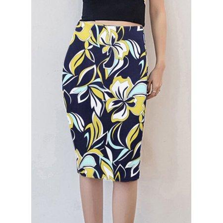 New Women Pencil Skirt Vintage Floral Print High Waist Split Slim Elegant OL Bodycon Midi Skirt - image 4 de 7