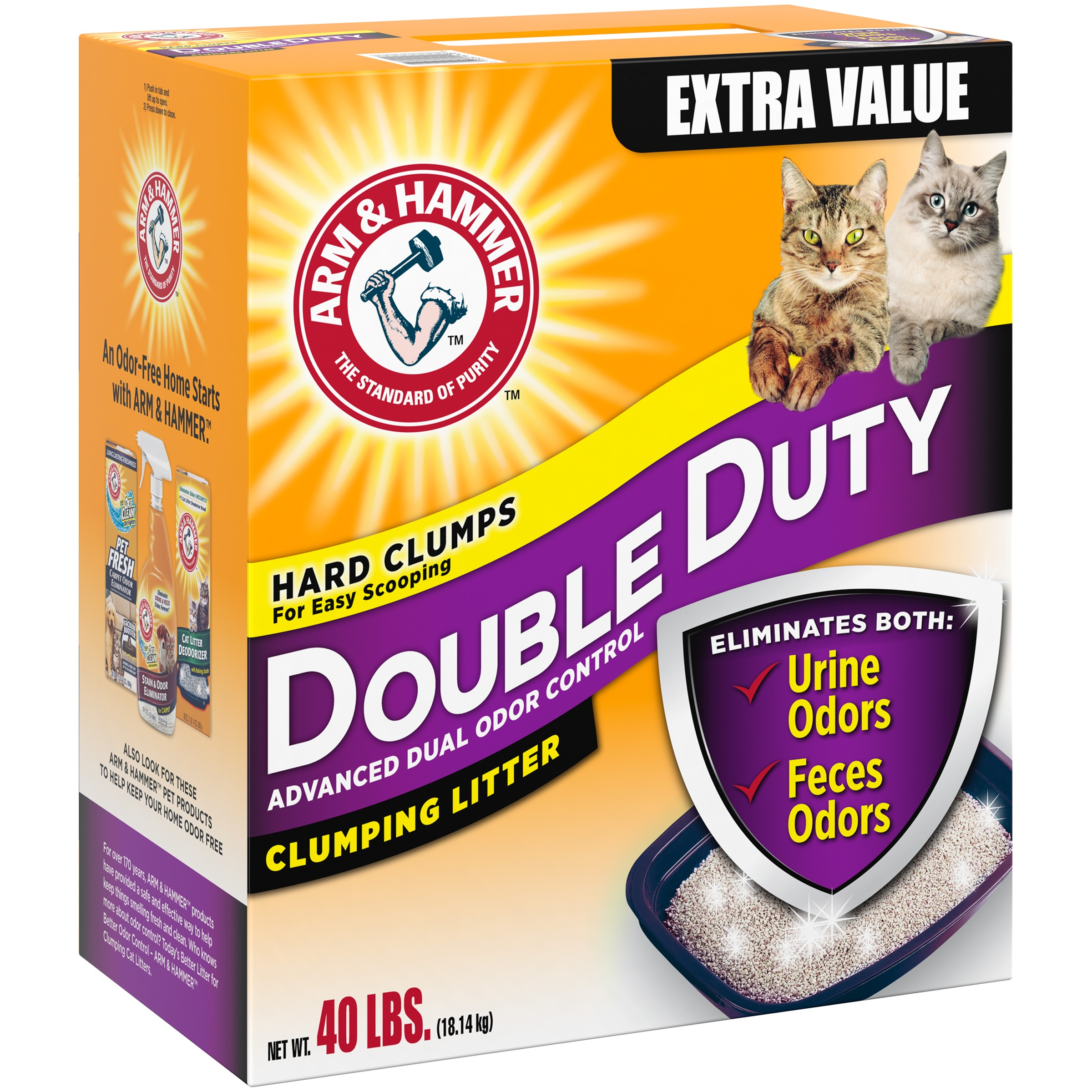 Arm & Hammer™ Double Duty Advanced Dual Odor Control Clumping Cat Litter 40 lb. Box