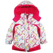 Pink Platinum Little Girls' Toddler All Over Hearts Puffer Winter Ski Jacket