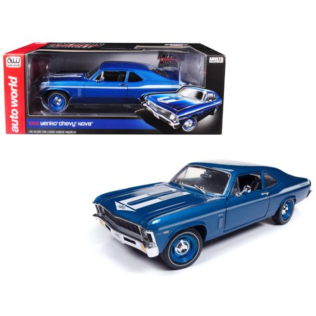 1969 Chevrolet Yenko Nova Blue with White Stripes Limited Edition to 1002 pieces 1/18 Diecast Model Car by Autoworld