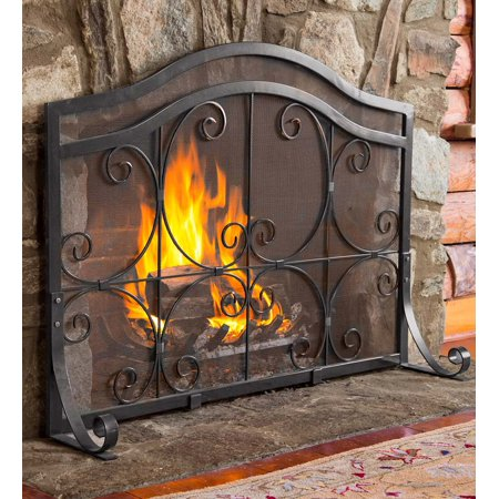 Admirable Large Crest Flat Guard Fireplace Fire Screen Home Interior And Landscaping Ologienasavecom