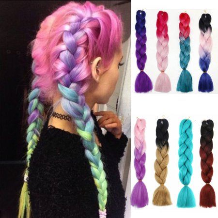 NK Beauty 24 Inches Braiding Hair Synthetic Braiding Hair Extensions Twist Crochet Two Tone Twist Braiding Pony Tail Extensions 95g/1pcs