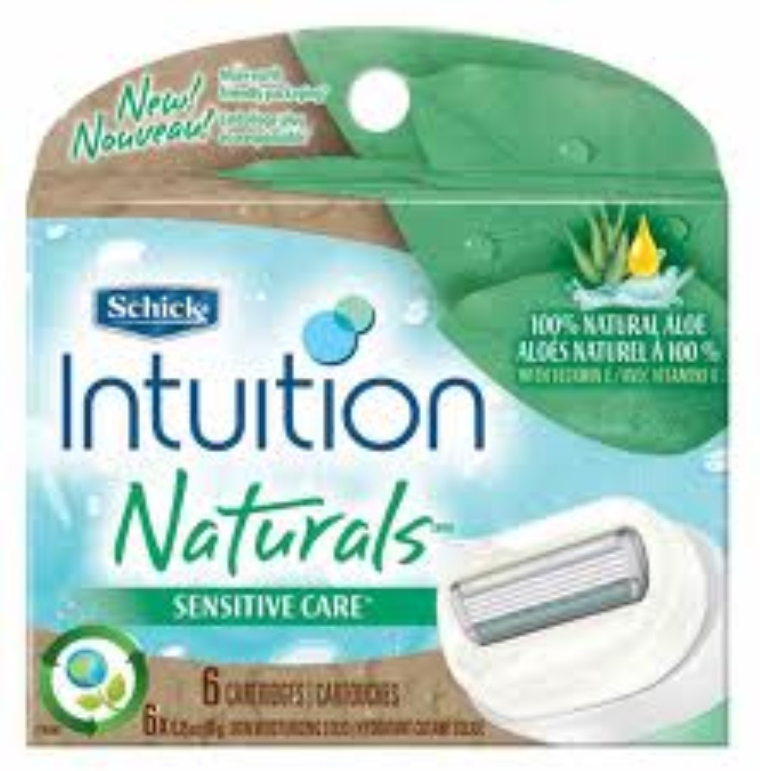 Schick Intuition Naturals Cartridges Sensitive Care 6 Each (Pack of 4)