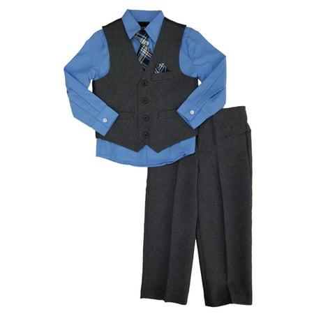 Toddler Boys 4pc Dress Up Outfit Suit Set Blue Shirt Plaid Tie Gray Vest & Pants (Dress Up Outfits)