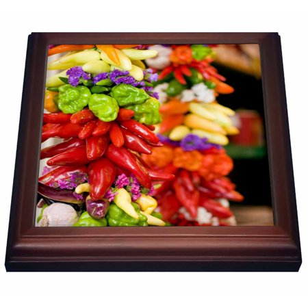 3dRose USA, Washington, Seattle, Pike Place Market, Peppers - US48 AKS0048 - Alim Kassim, Trivet with Ceramic Tile, 8 by 8-inch