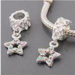 Clear Rhinestones Star Dangle Charm Bead. Fits Troll, Zable, Baigi, Chamilia Charm Bracelets.