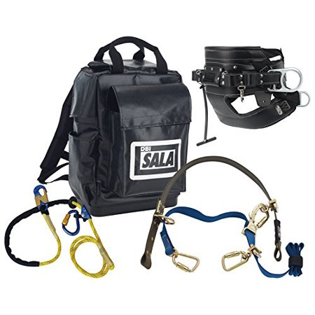 Single Pole Rolling Backpack - 3M DBI-SALA 1050017 Lineman Pole Climbing Kit with 1001398 4D Seat Belt, 1204075 Pole Climbing Device, 1234071 Lanyard and Backpack, Black
