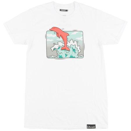 63051b19e7e Pink Dolphin Box Wave T-Shirt Elongated Mens White - Walmart.com