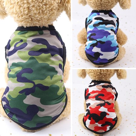Girl12Queen Puppy Summer Cotton Camouflage Vest Shirts Clothes Outfits Pet Dog Supplies (Cute Dog Outfit)