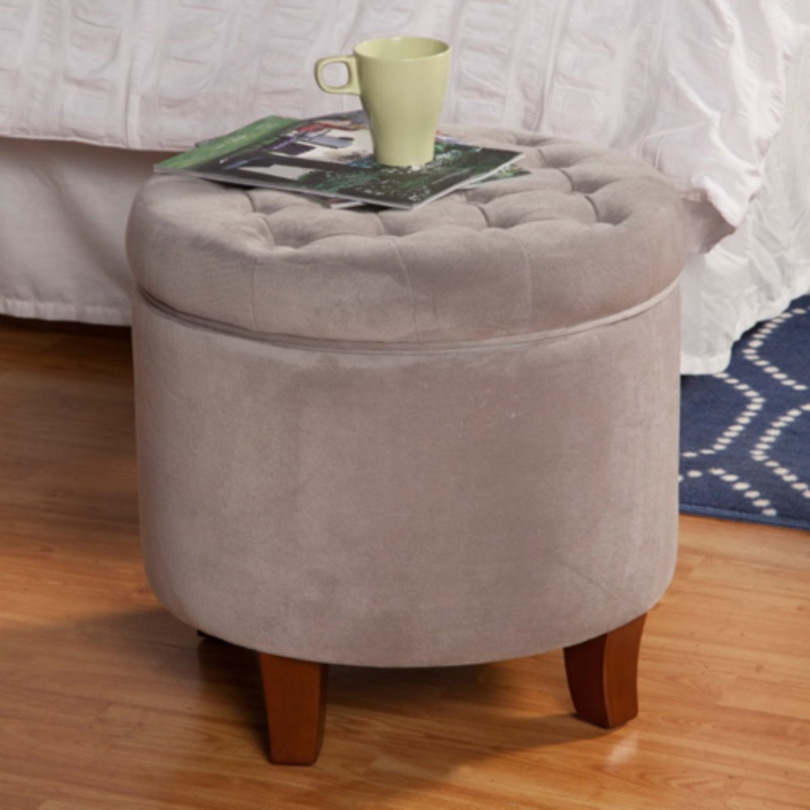 HomePop Velvet Tufted Round Ottoman with Storage, Multiple Colors