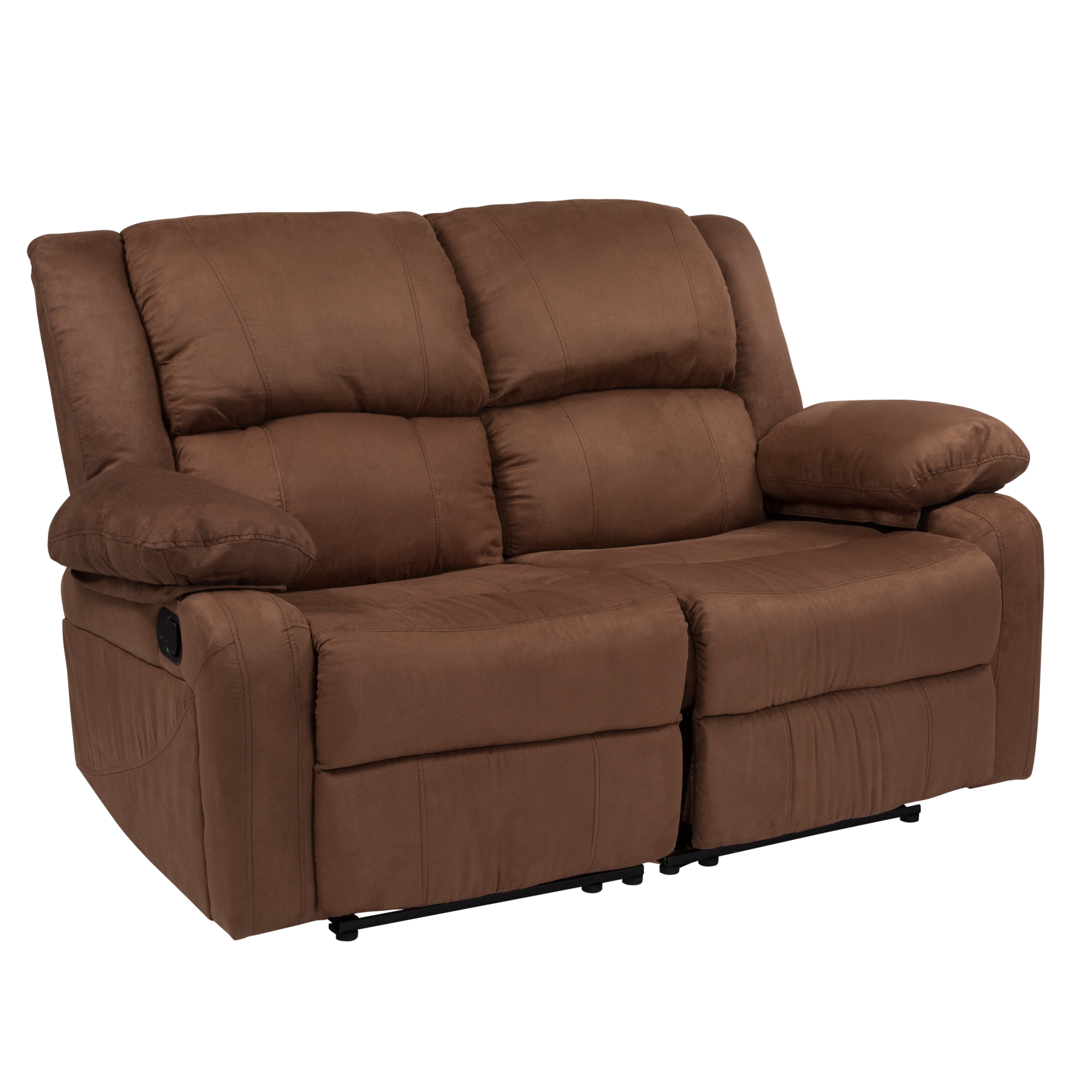 Harmony Series Flash Furniture Chocolate Brown Microfiber Loveseat with Two Built-In Recliners
