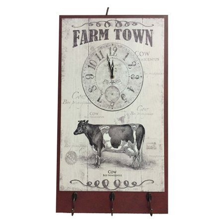 Sagebrook Home Cattle Clock Plaque with Hooks