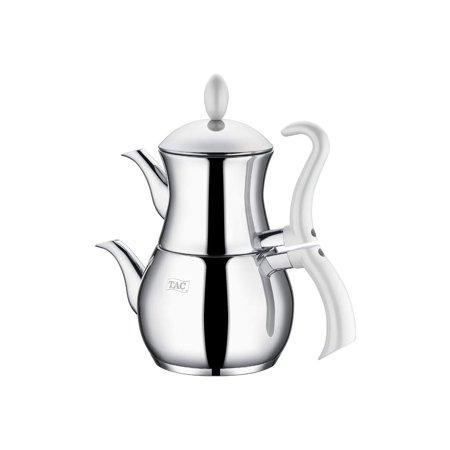 Tac Ilkdem Collection 18/10 Stainless Steel Teapot, Modern Design Tea Maker, 100 Oz Capacity Turkish Samovar Double Teapot & Tea Kettle with Heat Resistant Handles and Pyrex Glass Lid