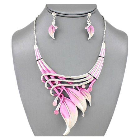 Etched Metal Feather w Rhinestones Accent Art Deco Necklace N' Earring Set Pink - image 1 of 1