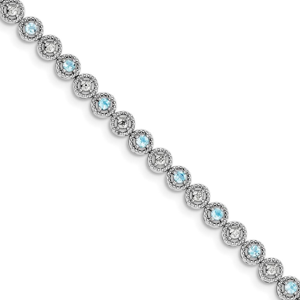 """925 Sterling Silver (0.02cttw) Blue Topaz Diamond Bracelet -7"""" (7in x 5mm) by"""