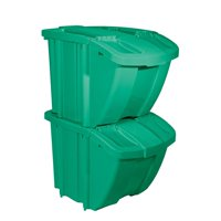 Suncast BH18GRN2 Stackable Recycling Bin Containers with Lids, Green (2 Pack)