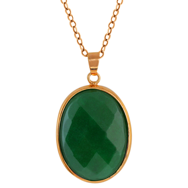 """Stunning Jadelite Faceted Green Color Oval Pendant with 18"""" Chain"""