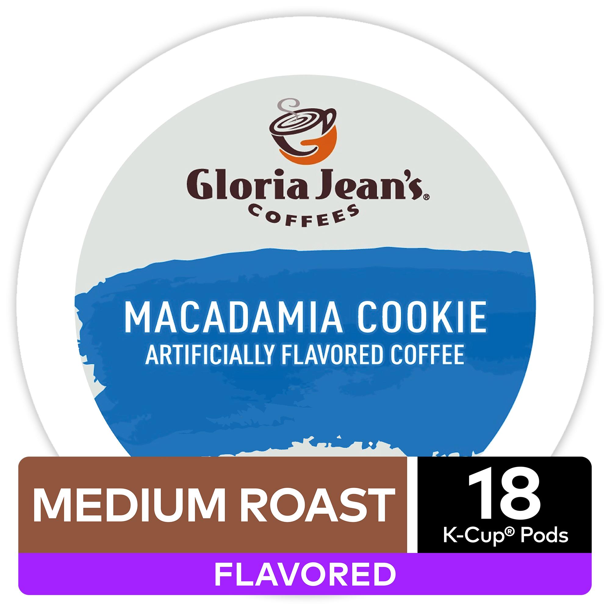 Gloria Jeans Coffees Macadamia Cookie Flavored Coffee, Keurig K-Cup Pods, Medium Roast, 18 Count