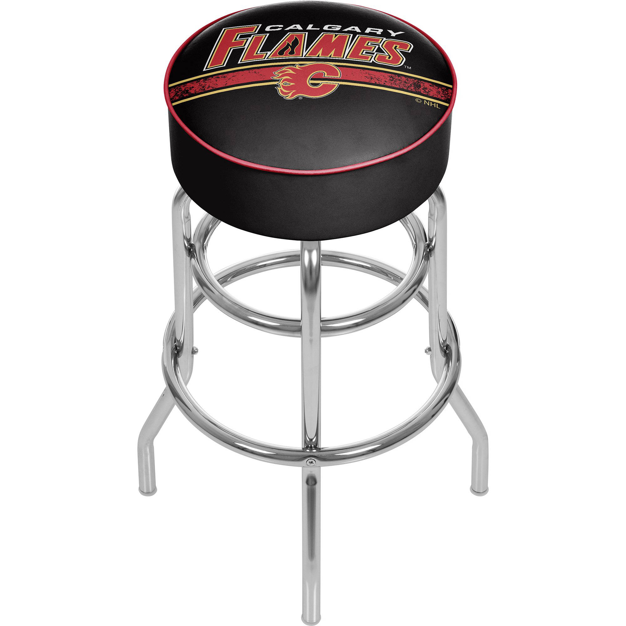 NHL Chrome Bar Stool with Swivel, Calgary Flames