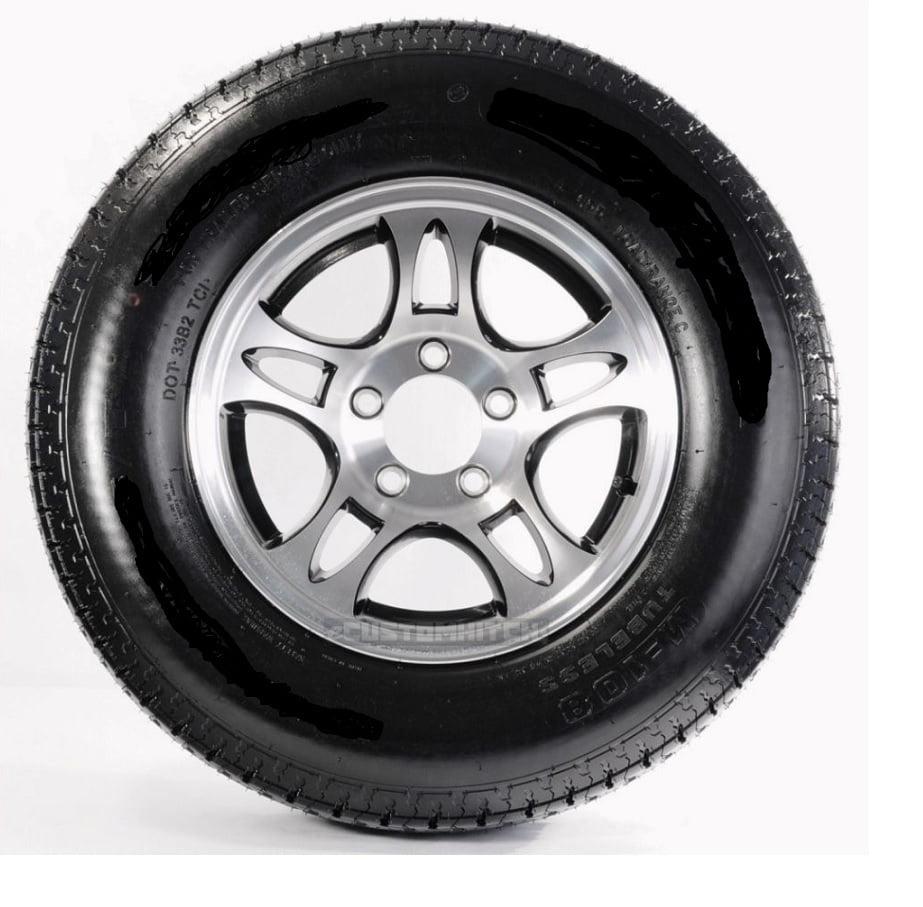 Radial Trailer Tire Rim ST215/75R14 Load C 5 Lug Aluminum T03 Split Black 58950