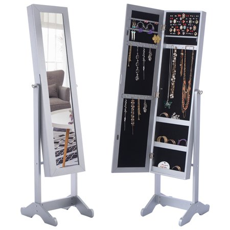 Costway Mirrored Jewelry Cabinet Armoire Mirror Organizer Storage Box Ring W Stand