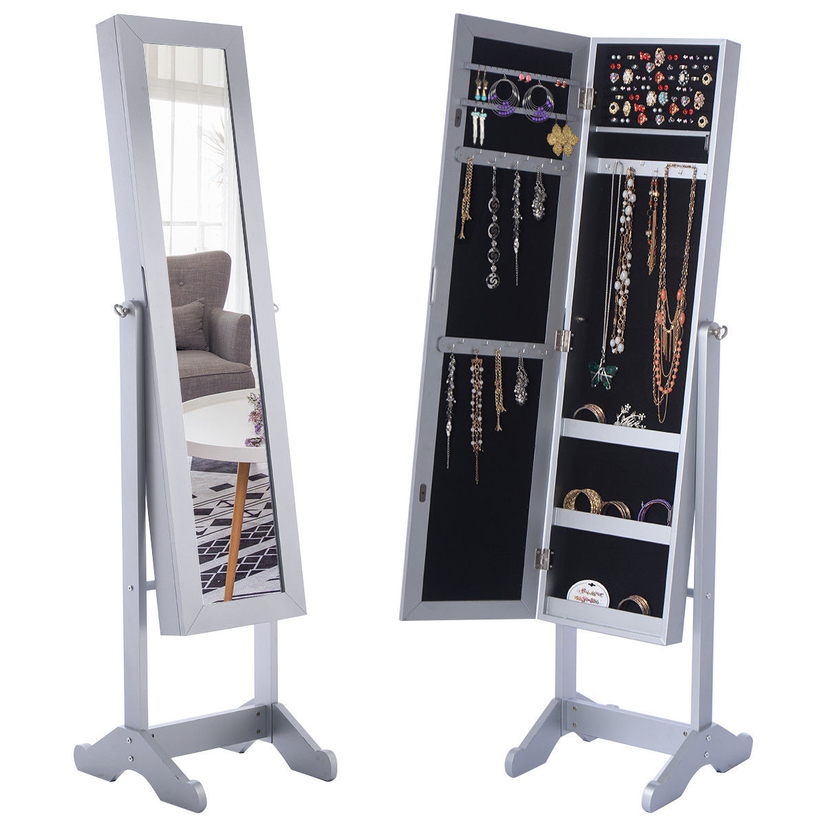 Costway Mirrored Jewelry Cabinet Armoire Mirror Organizer Storage Box Ring w/ Stand