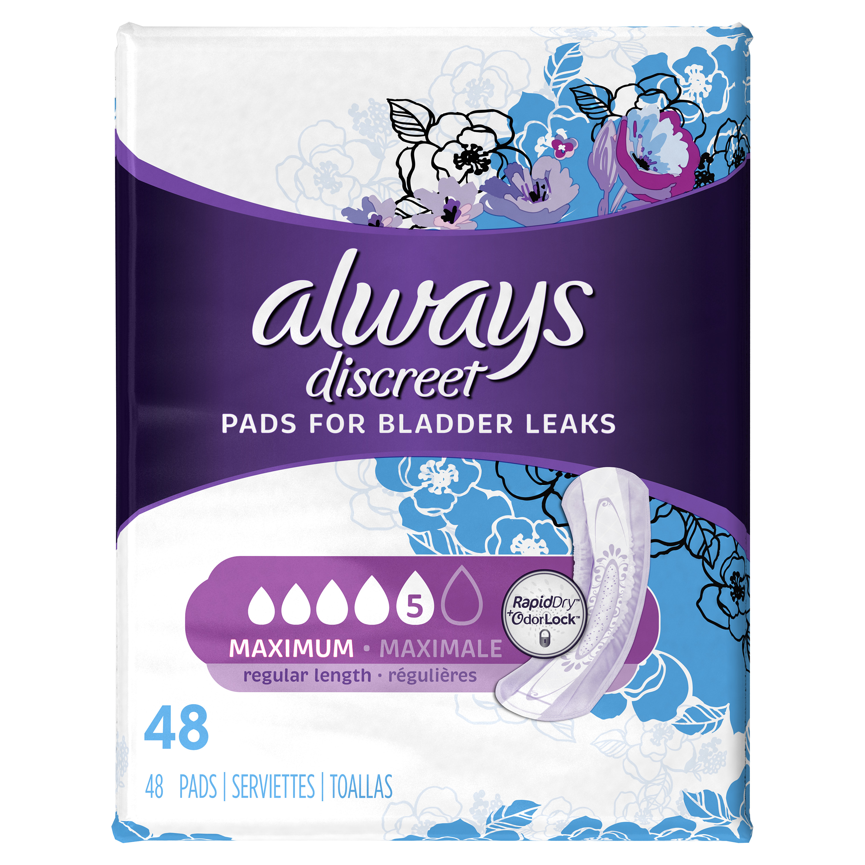 Always Discreet, Incontinence Pads, Maximum, Regular Length, 48 Count