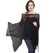 Women's Butterfly Sleeve Light Netted Bali Sweater Top (Indonesia) Black