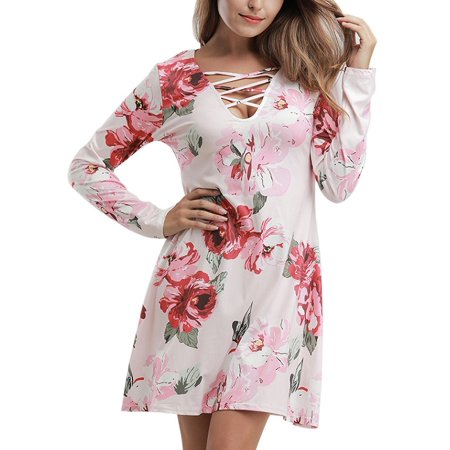 9ba17c3131d1a4 Ropalia - Ropalia Women Long Sleeve Printed V Neck Cross Strap Dress -  Walmart.com
