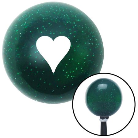 White Hearts Green Metal Flake Shift Knob with M16 x 1.5 Insert Shifter Auto Manual Brody - image 1 de 1