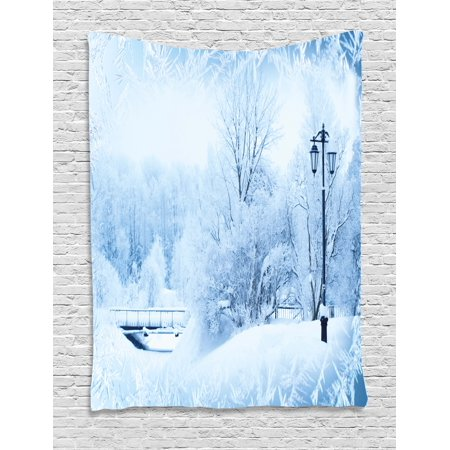 Winter Tapestry, Winter Trees in Wonderland Theme Christmas New Year Scenery Freezing Icy Weather, Wall Hanging for Bedroom Living Room Dorm Decor, 60W X 80L Inches, Blue White, by - Theme Winter Wonderland