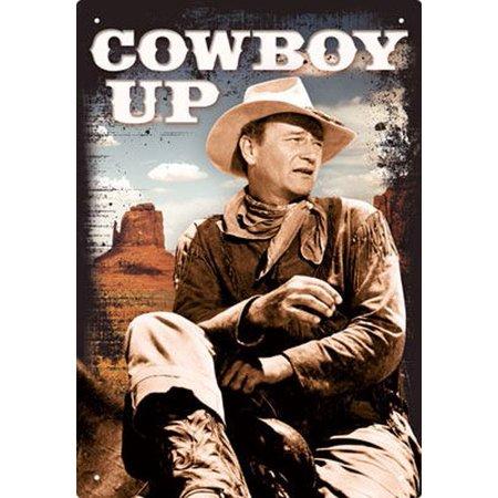 Rodeo Cowboy Kids Sign (JOHN WAYNE - COWBOY UP - 8 x 11.5 TIN)