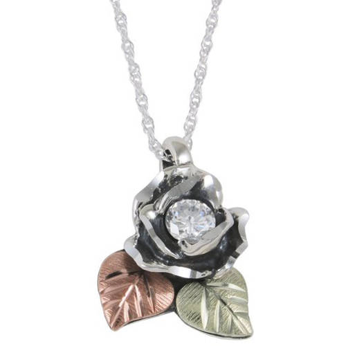 "Black Hills Gold CZ Sterling Silver Oxidized Rose Pendant, 18"""
