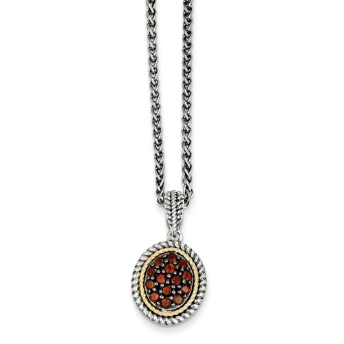 Sterling Silver w  14k Yellow Gold Yellow Gold Garnet Vintage Style Necklace by Jewelrypot