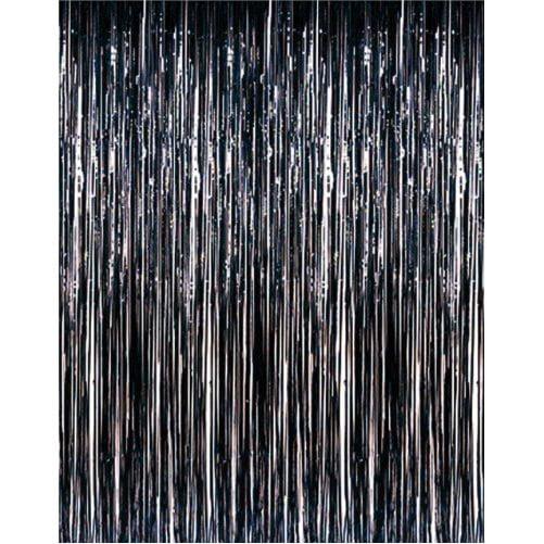3' x 8' Black Tinsel Foil Fringe Door Window Curtain Party Decoration