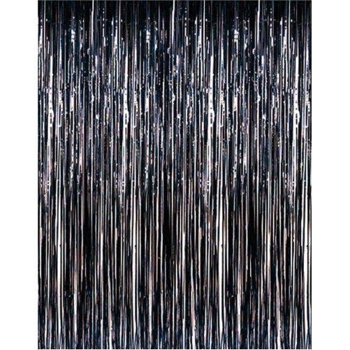 3' x 8' Black Tinsel Foil Fringe Door Window Curtain Party Decoration