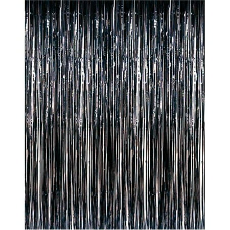 Black Foil Fringe Door Curtain, 3ft x 8ft